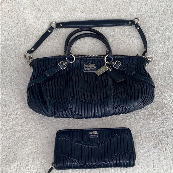 Coach navy blue pleated leather handbag and wallet